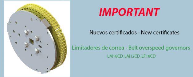 Nuevos certificados – Limitadores de correa