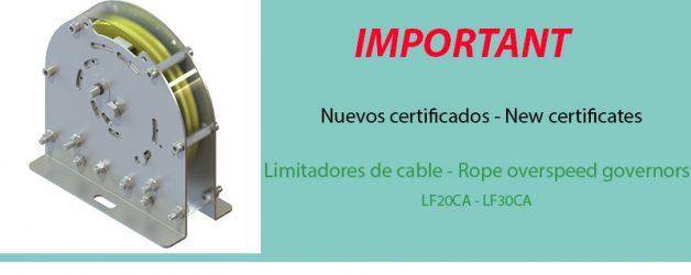 Nuevos certificados – Limitadores de cable